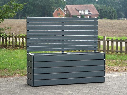 Pflanzkasten Holz Lang mit Sichtschutz, Länge: 212 cm, Höhe: 180 cm, Oberfläche: Steingrau