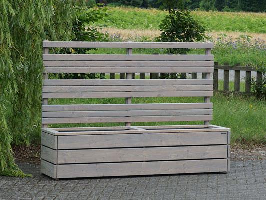Pflanzkasten Holz Lang L mit Sichtschutz nach Maß, Oberfläche: Transparent Grau