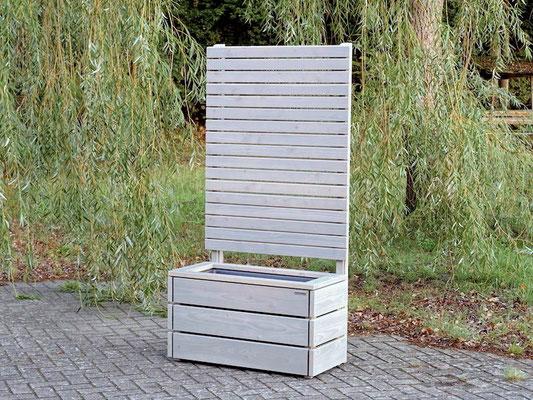 Pflanzkasten Holz mit Sichtschutz nach Maß, Länge: 92 cm, Höhe: 180 cm, Oberfläche: Transparent Grau
