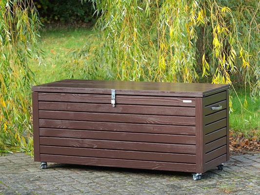 Auflagenbox / Kissenbox Holz nach Maß, Oberfläche: Dunkelbraun / Schokoladenbraun RAL 8017