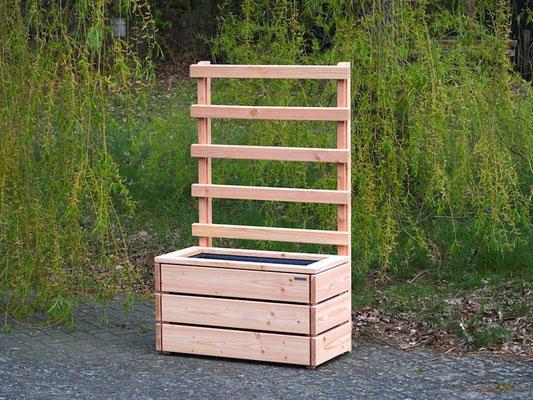 Pflanzkasten Holz M mit Rankgitter / Spalier, Maße: 92 x 48 x 150 cm, Oberfläche: Natur