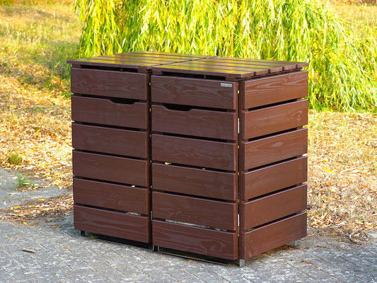 2er Mülltonnenbox / Mülltonnenverkleidung Holz, Oberfläche: Dunkelbraun / Schokoladenbraun (RAL 8017)
