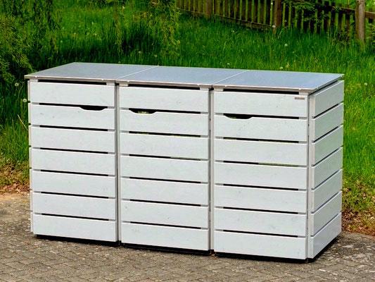 3er Mülltonnenbox Edelstahl / Holz - Deckel, Oberfläche: Deckend Geölt Lichtgrau