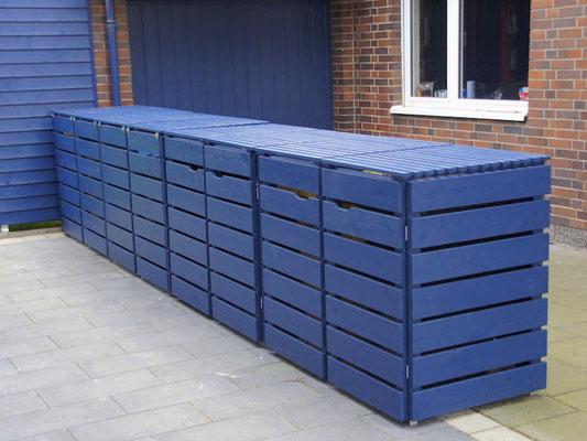 4er Mülltonnenbox / Mülltonnenverkleidung Holz, Oberfläche: Deckend Geölt Royalblau