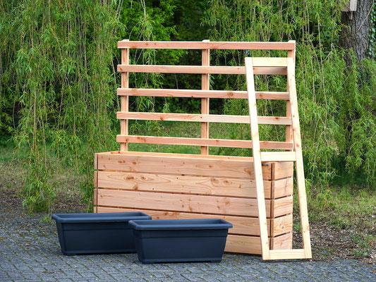 Pflanzkasten Holz Lang M mit Rankgitter / Spalier, Länge 172 cm, Höhe 180 cm, Oberfläche: Natur Geölt