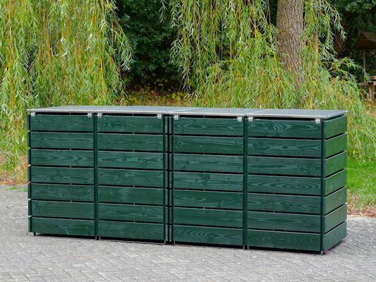 Rückseite 4er Mülltonnenbox Edelstahl / Holz - Deckel, Oberfläche: Tannengrün