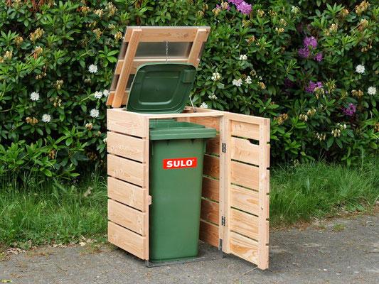 1er Mülltonnenbox Edelstahl / Holz - Deckel, für 120 L & 240 L Mülltonnen, Oberfläche: Douglasie Natur