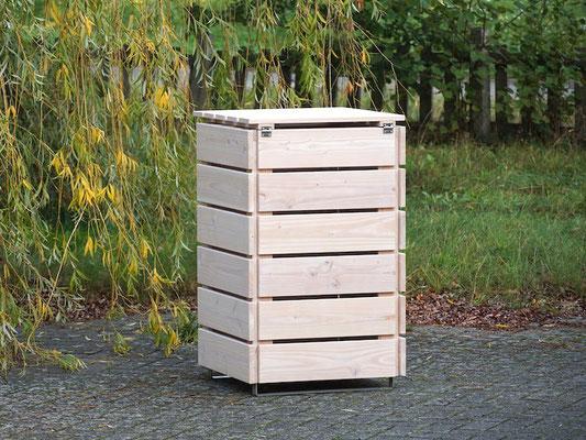 Rückseite 1er Mülltonnenbox / Mülltonnenverkleidung Holz 120 L, Oberfläche: Transparent Weiß