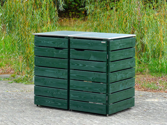 2er Mülltonnenbox Edelstahl / Holz - Deckel, Oberfläche: Deckend Geölt Tannengrün