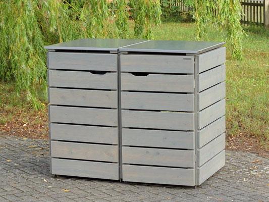 2er Mülltonnenbox Edelstahl / Holz - Deckel, Oberfläche: Transparent Grau