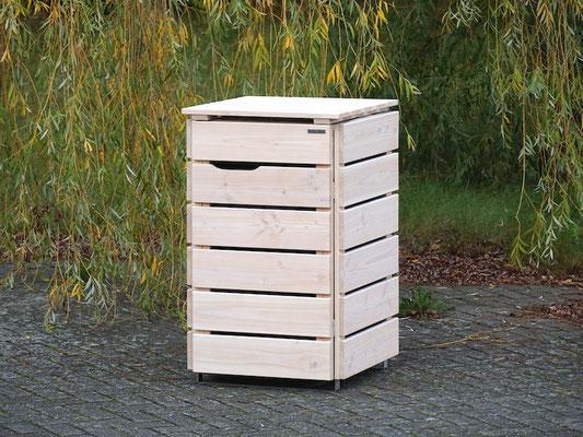 1er Mülltonnenbox / Mülltonnenverkleidung Holz 120 L, Oberfläche: Transparent Weiß