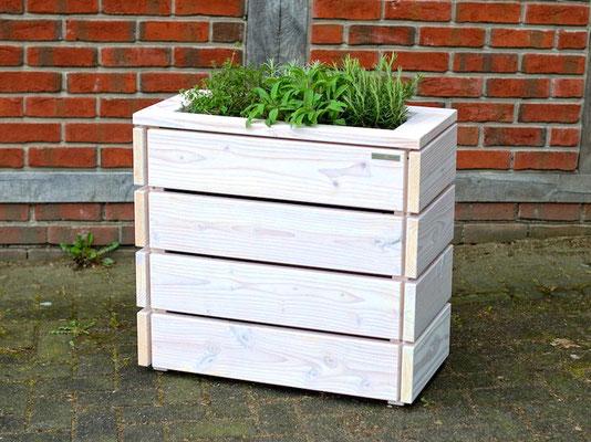 Pflanzkasten / Pflanzkübel Holz S, Oberfläche: Transparent Weiß