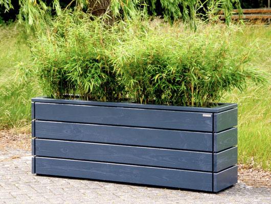 Pflanzkasten / Pflanzkübel Holz Lang M, Oberfläche: Anthrazit Grau