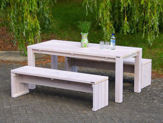 Gartenmöbel Holz Set 3, Transparent Geölt Weiß ohne Polster