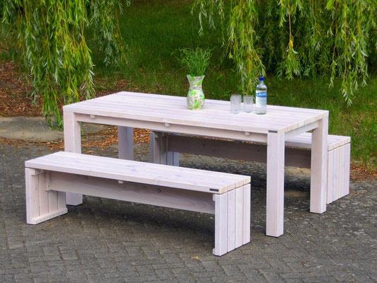 Gartenmöbel Set 3 Holz, Tischgröße: 180 x 80 cm, Oberfläche: Transparent Weiß