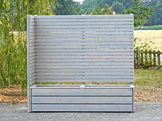 Pflanzkasten Holz Ecke mit Sichtschutz nach Maß, Oberfläche: Transparent Grau - Höhe: 180 cm