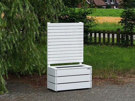Pflanzkasten Holz mit Sichtschutz, Länge: 92 cm, Höhe: 150 cm, Oberfläche: Weiß