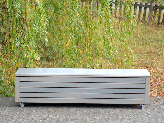 Truhenbank / Sitztruhe nach Maß Holz mit Edelstahl - Deckel, Oberfläche: Transparent Grau