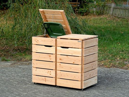 2er Mülltonnenbox / Mülltonnenverkleidung 120 L Holz, Oberfläche: Natur