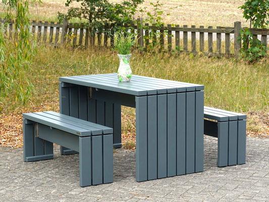 Gartenmöbel nach Maß Set 1 Holz, Tischgröße: 140 x 70 x 76 cm (L x T x H), Oberfläche: Steingrau