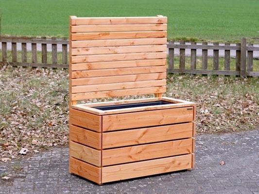 Pflanzkasten Holz mit Sichtschutz, Länge: 112 cm, Höhe: 180 cm, Oberfläche: Transparent Geölt Natur