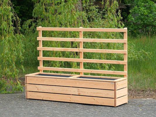 Pflanzkasten / Pflanzkübel Holz Lang L mit Rankgitter / Spalier, Maße: 212 x 55 x 150 cm, Oberfläche: Natur Geölt