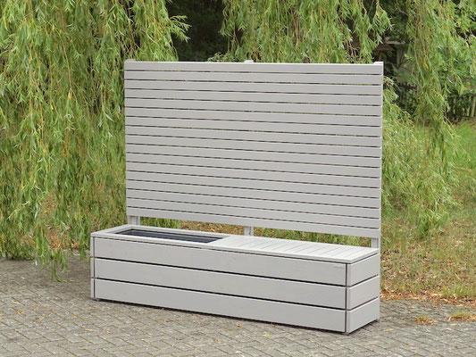 Sichtschutz nach Maß mit Pflanzkasten + Sitzfläche, Oberfläche: Platingrau RAL 7036
