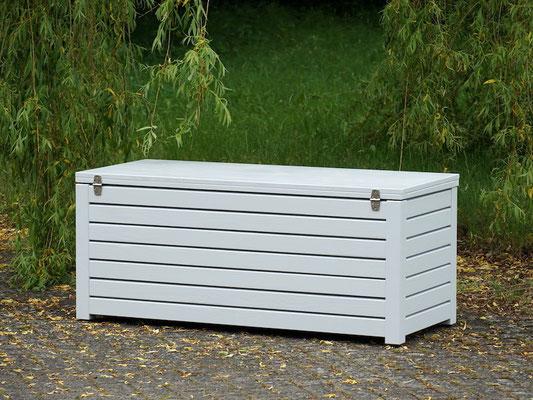 Rückseite Auflagenbox / Kissenbox Holz, atmungsaktiv & wasserdicht, Oberfläche: Lichtgrau RAL 7035
