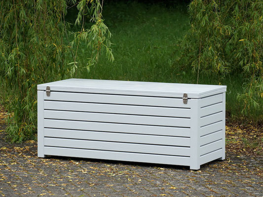 Rückseite Auflagenbox / Kissenbox Holz, Oberfläche: Lichtgrau RAL 7035