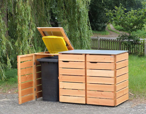 3er Mülltonnenbox Edelstahl / Holz - Deckel, Oberfläche: Natur Geölt