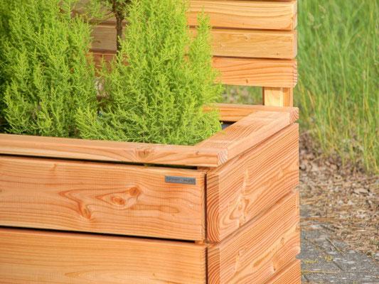 Pflanzkasten Holz Lang mit Sichtschutz, Länge: 212 cm, Höhe: 180 cm, Oberfläche: Transparent Geölt Natur