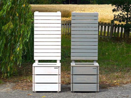 Pflanzkübel Holz M mit Sichtschutz, Länge: 52 cm, Höhe: 150 cm, Oberfläche: Transparent Weiß + Grau