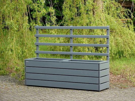 Pflanzkasten Holz mit Rankgitter / Spalier, Länge: 212 cm, Höhe: 150 cm, Oberfläche: Steingrau / Basaltgrau RAL 7012