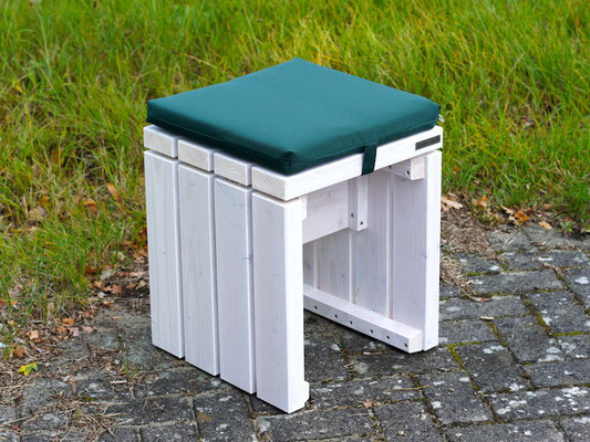 Gartenhocker / Gartenbank Holz, Transparent Geölt Weiß, mit Polster