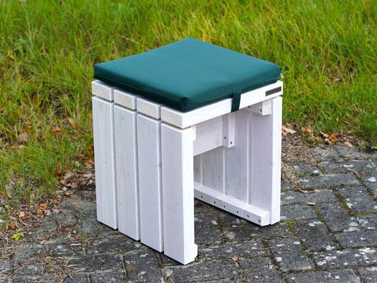 Gartenhocker / Gartenbank Holz, Oberfläche: Transparent Weiß, mit Polster Dekor Grün