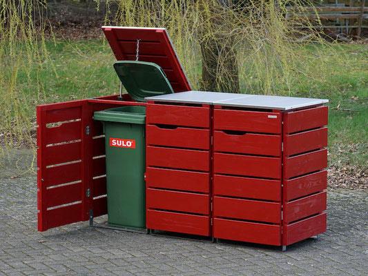 3er Mülltonnenbox / Mülltonnenverkleidung 240 L mit Edelstahl - Deckel, Oberfläche: Nordisch Rot (RAL 3011)