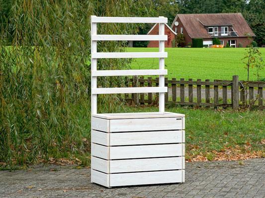 Hochbeet nach Maß, wetterfestes Holz Douglasie, mit Rankgitter / Spalier, Oberfläche: Transparent Weiß