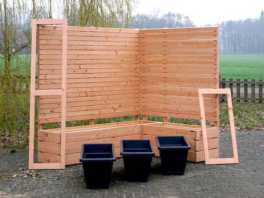 Pflanzkasten Holz Ecke mit Sichtschutz, Oberfläche: Natur - Höhe: 180 cm