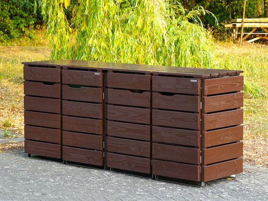 4er Mülltonnenbox / Mülltonnenverkleidung Holz, Oberfläche: Dunkelbraun / Schokoladenbraun (RAL 8017)