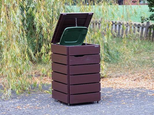 1er Mülltonnenbox Edelstahl / Holz 120 L, mit Edelstahl - Deckel, Oberfläche: Dunkelbraun / Schokoladenbraun (RAL 8017)