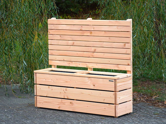 Pflanzkasten Holz Lang S mit Sichtschutz, Länge: 132 cm, Höhe: 120 cm, Oberfläche: Natur