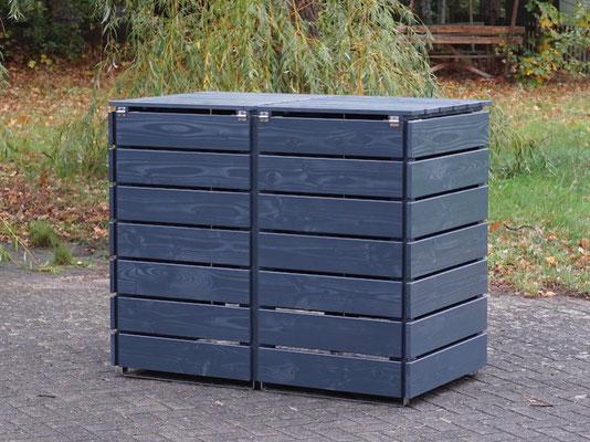Rückseite 2er Mülltonnenbox / Mülltonnenverkleidung Holz 240 L, Oberfläche: Deckend Geölt Anthrazit Grau