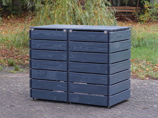 Rückseite 2er Mülltonnenbox / Mülltonnenverkleidung Holz 240 L, Oberfläche: Anthrazit (RAL 7016)