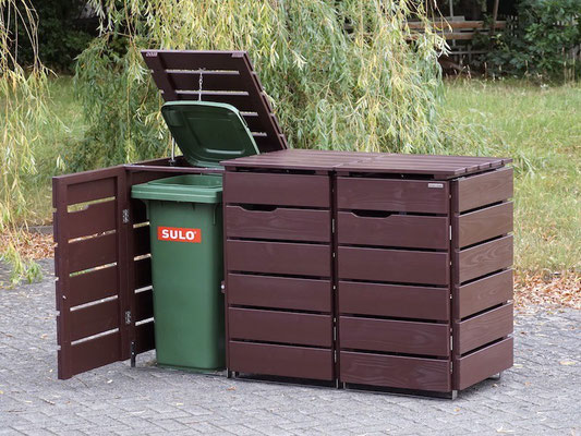 3er Mülltonnenbox / Mülltonnenverkleidung Holz 120 L, Oberfläche: Dunkelbraun / Schokoladenbraun (RAL 8017)