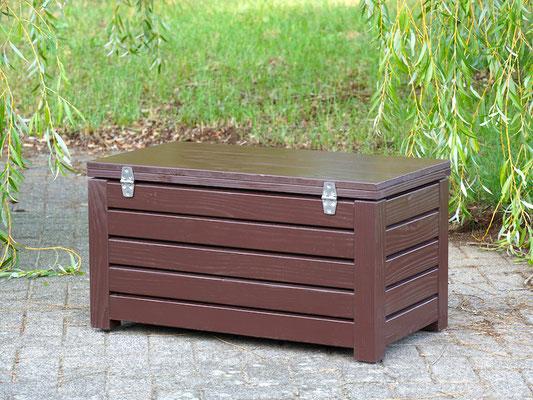 Rückseite Truhenbank / Sitzbank Holz S, Oberfläche: Dunkelbraun, atmungsaktiv & wasserdicht