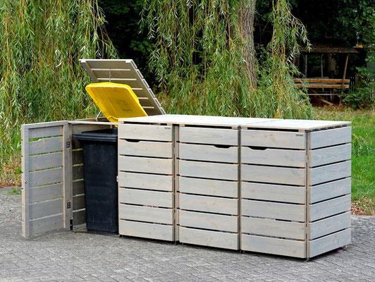 4er Mülltonnenbox / Mülltonnenverkleidung 240 L Holz, Oberfläche: Transparent Grau