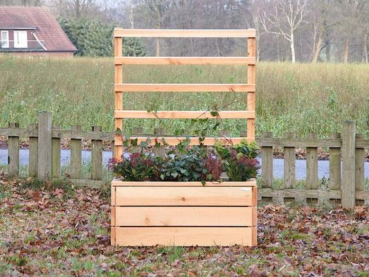 Pflanzkasten Holz mit Rankgitter / Spalier, Länge: 112 cm, Oberfläche: Natur