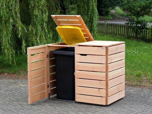 2er Mülltonnenbox / Mülltonnenverkleidung Holz, für 120 L & 240 L Tonnen, Oberfläche: Natur