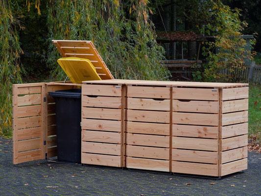4er Mülltonnenbox / Mülltonnenverkleidung Holz, Oberfläche: Natur Geölt