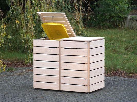 2er Mülltonnenbox / Mülltonnenverkleidung Holz, Oberfläche: Transparent Weiß
